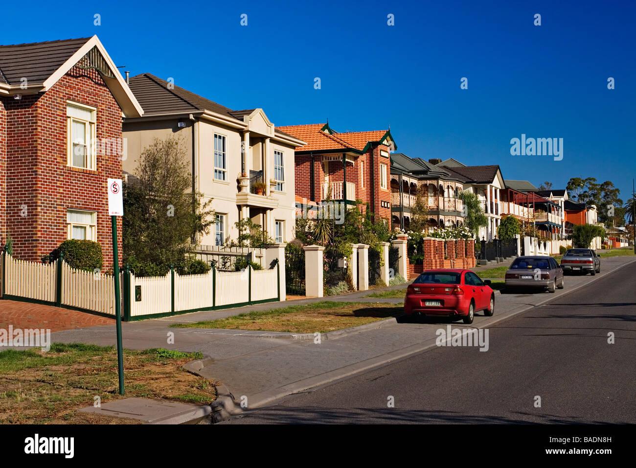 Residential Homes / Australier / Häuser auf eine Wohnsiedlung. Die Lage ist Melbourne Victoria Australien. Stockbild