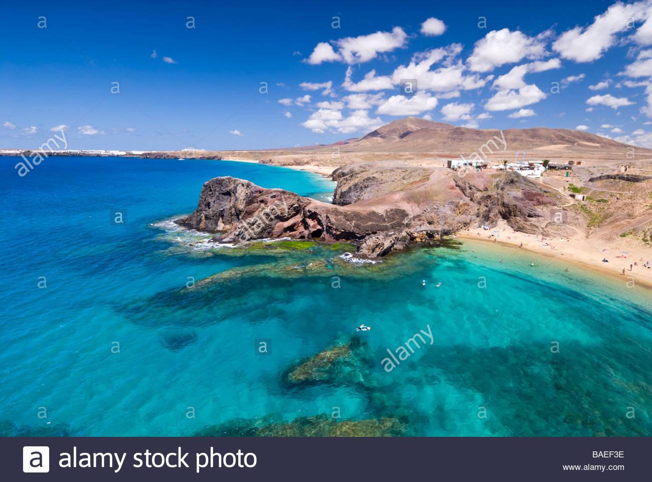 Playa de Papagayo, Lanzarote, Kanarische Inseln, Spanien. Stockbild