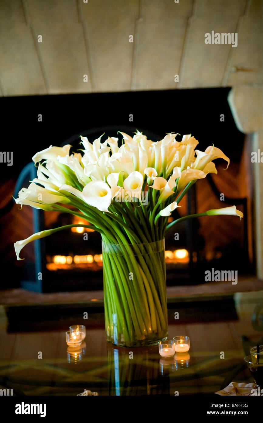 Vase, Calla Lilie Blumen, Grünen Stängel, Kamin, Wohnzimmer, Einrichtung,  Warm, Candle Light