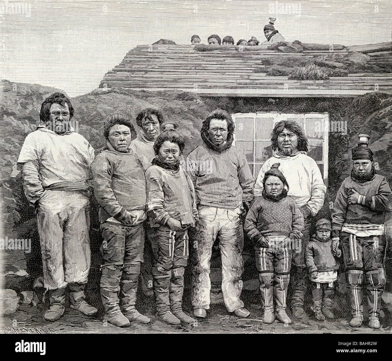Ein Eskimo Familie graviert aus einer Fotografie des 19. Jahrhunderts aus dem Buch The English Illustrated Magazine Stockbild