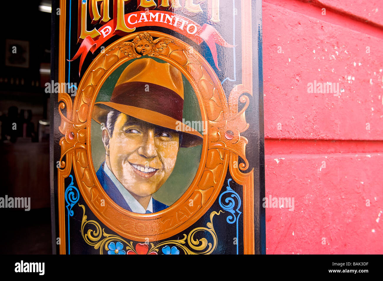 Argentinien, Buenos Aires, La Boca District, Carlos Gardel Stockbild