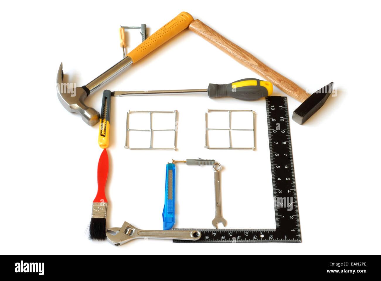 Werkzeuge-Haus Stockbild