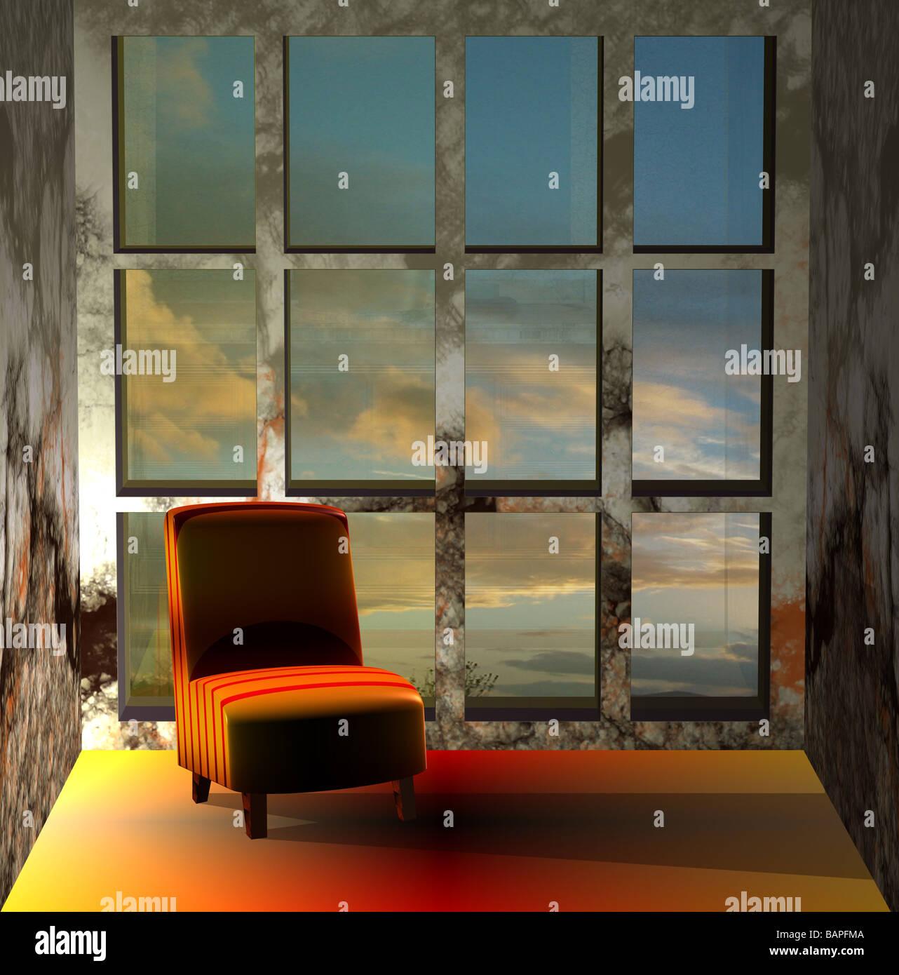 Ein 3D von einem Sofa in einer einsamen Zimmer Umgebung Darstellung Lonliness, Zeit-Passage, Erinnerungen und Nostalgie Stockbild