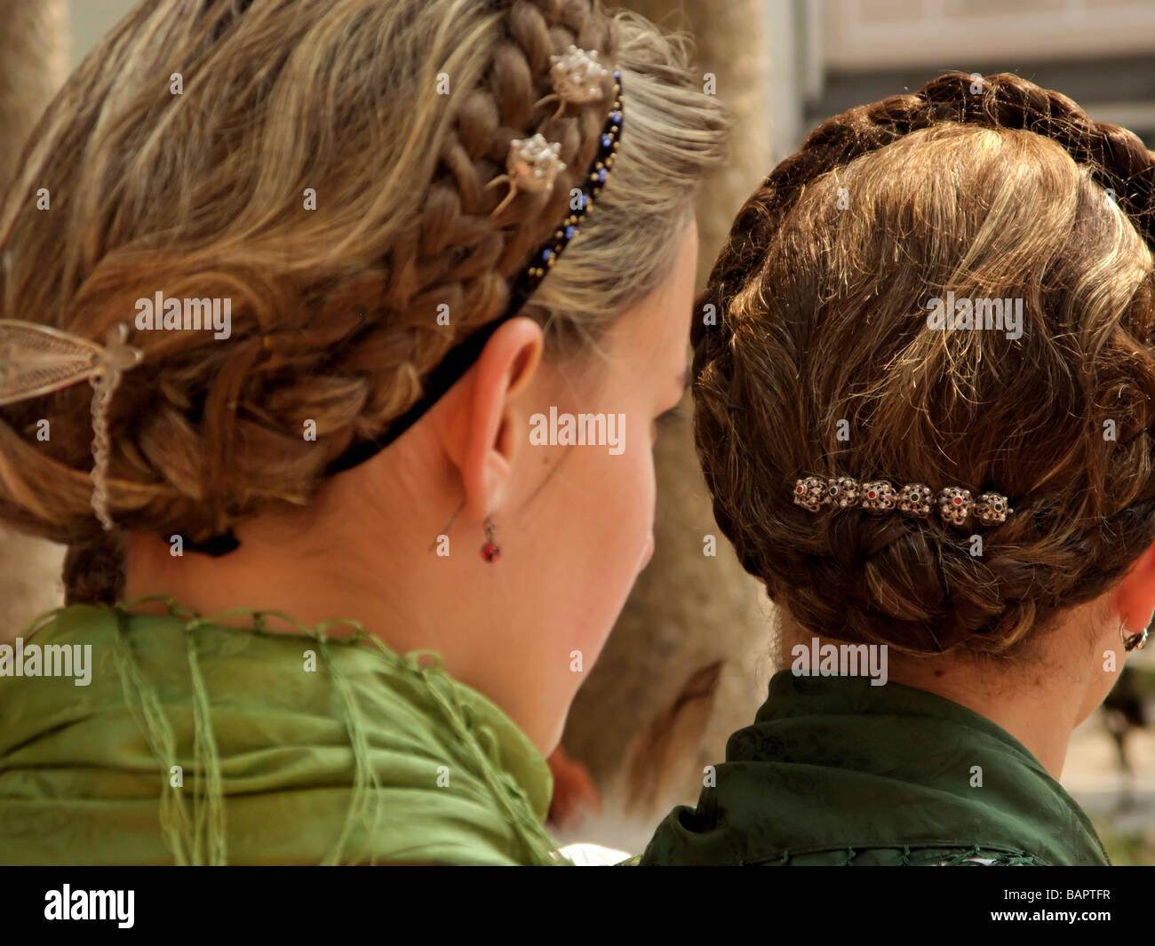 Traditionelle Frisur Bayerische Frau Deutschlands Stockfoto Bild