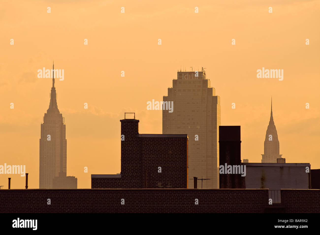 Empire State Building, das Chrysler Building und das Queens Citicorp Building, Long Island City, Queens, New York Stockbild