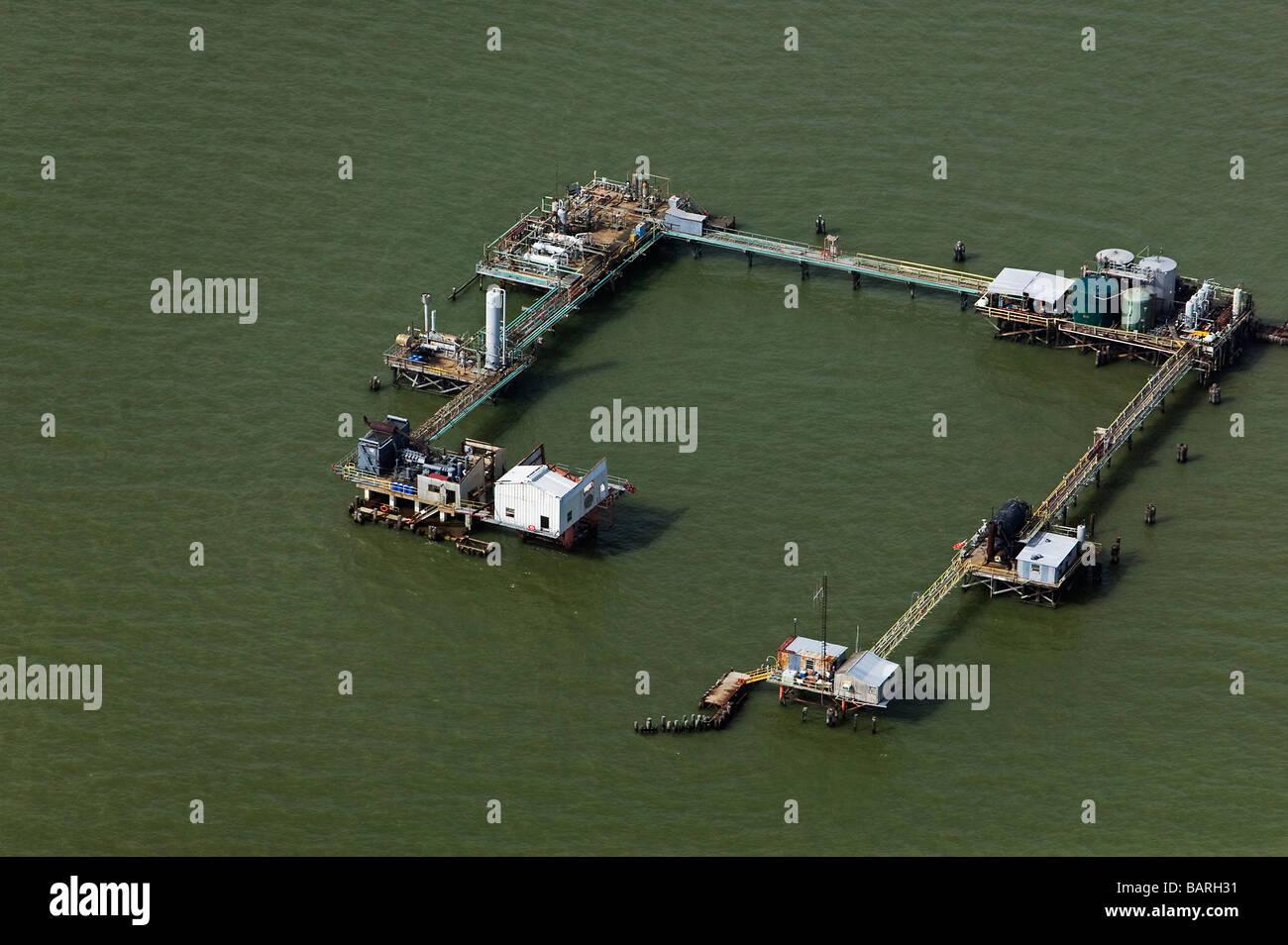 Luftaufnahme über Erdgas Produktionsstätte Louisiana Stockbild