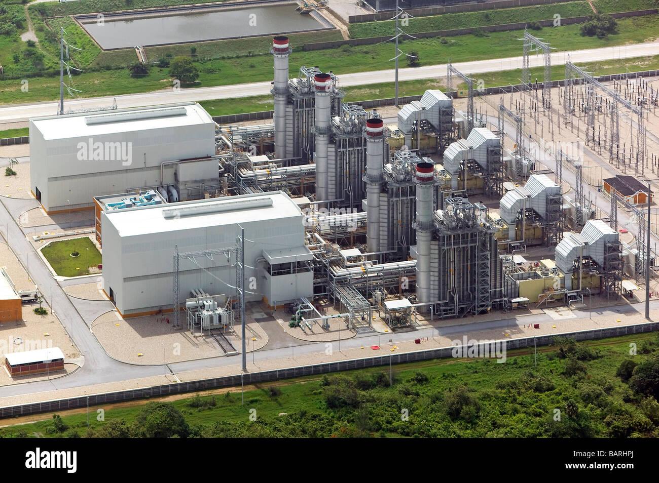 Luftaufnahme über mexikanische Stromerzeugung Werk nordöstlichen Mexiko Stockbild