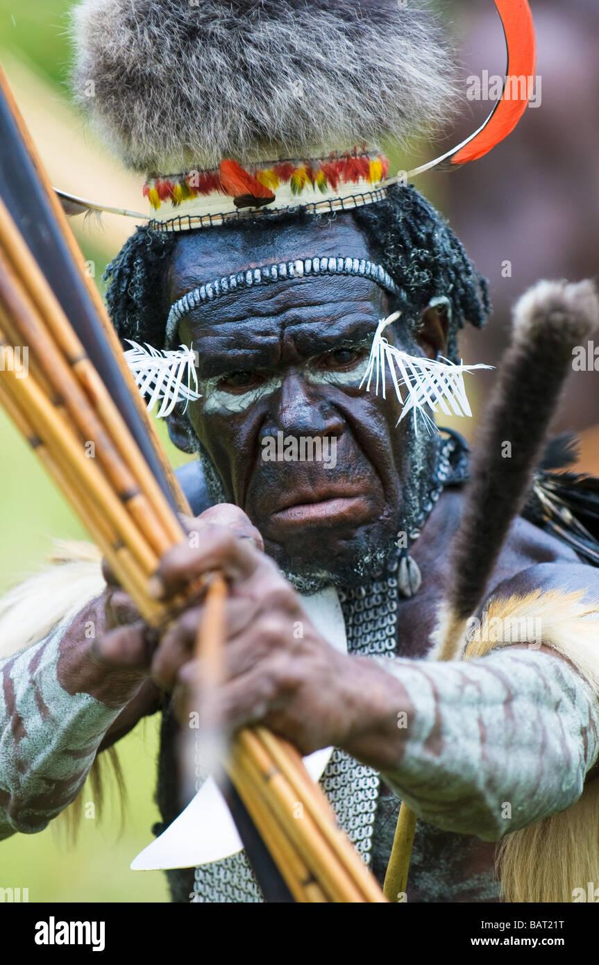Yali Mabel der Häuptling des Stammes Dani Papua Indonesien Stockfoto