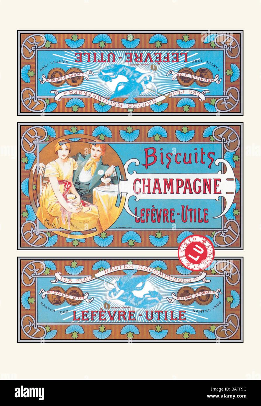 Kekse-Champagner Stockfoto