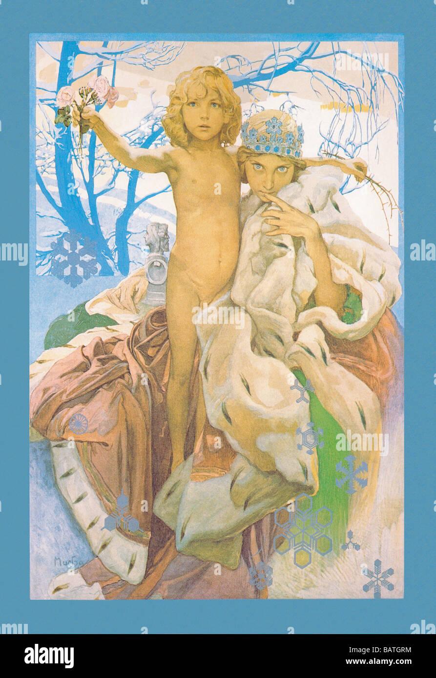 Schneekönigin und Kind Stockfoto