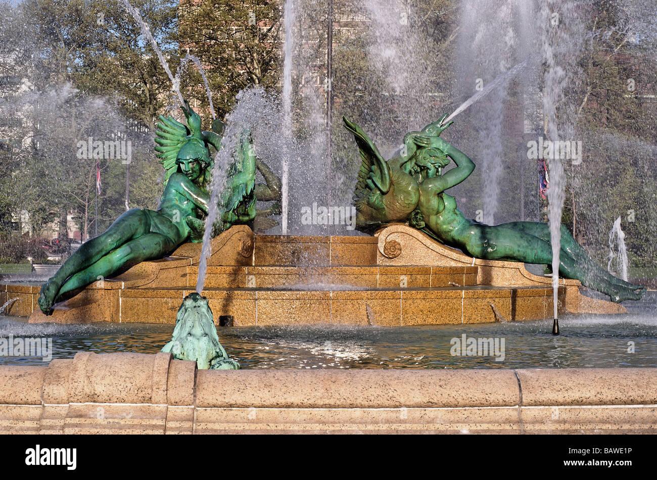 Swann Brunnen in Logan Circle Philadelphia Pennsylvania Stockbild
