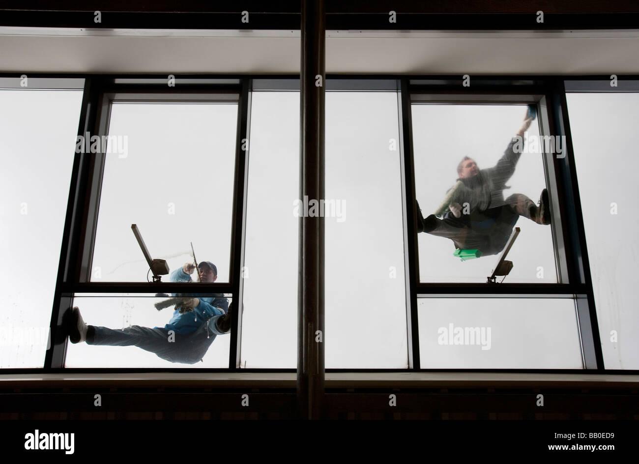Fenster-Reiniger-Hamburg Stockbild