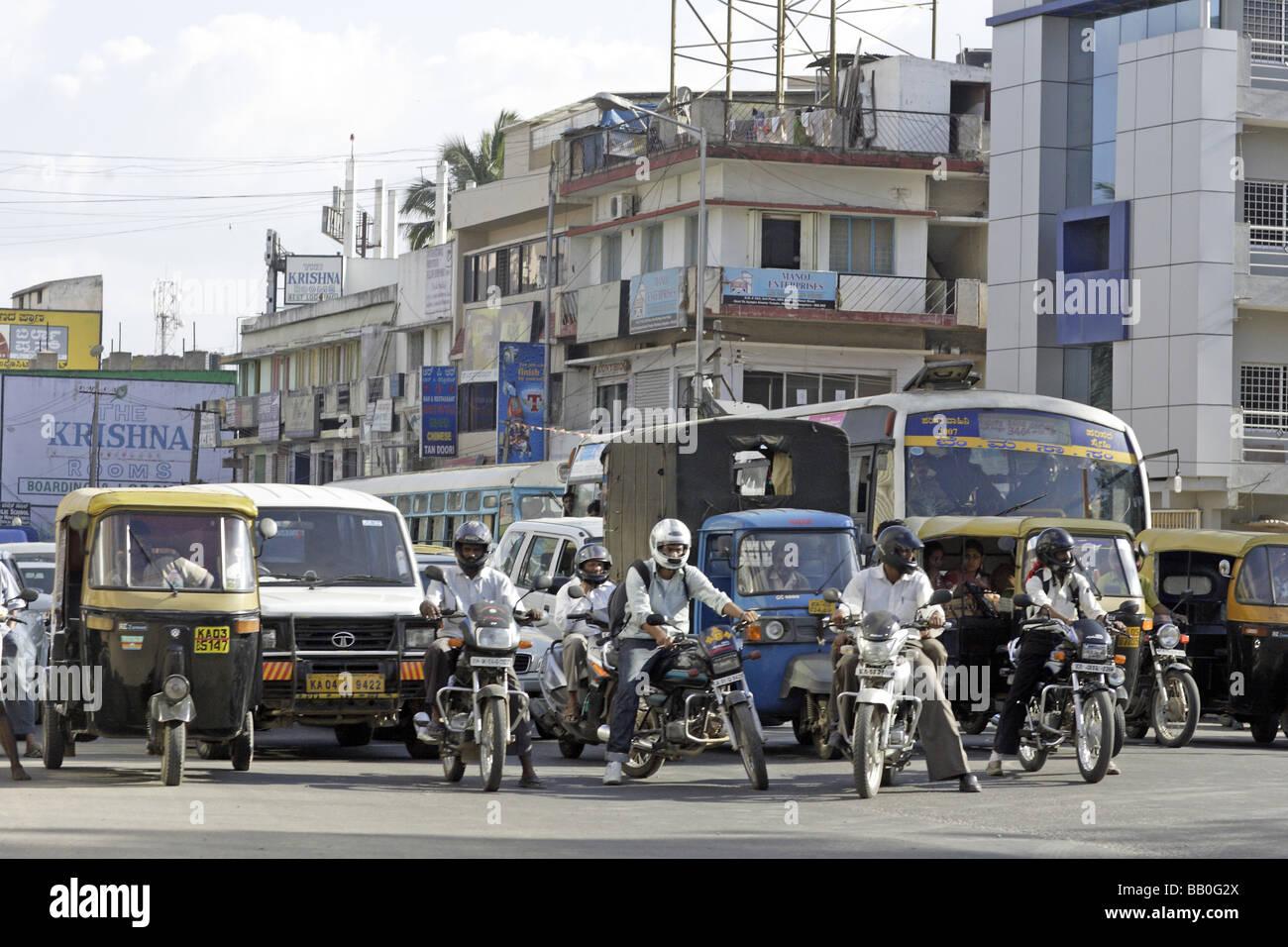 Straße Landschaft Bangalore Indien Stockbild
