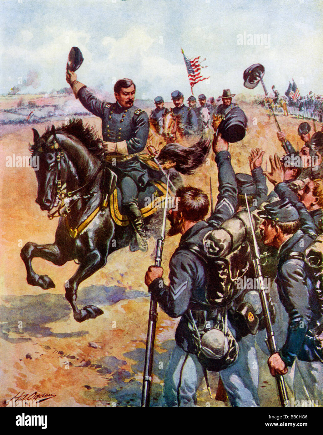 General McClellan ermutigend in der Schlacht von Antietam 1862 Unionstruppen Stockbild