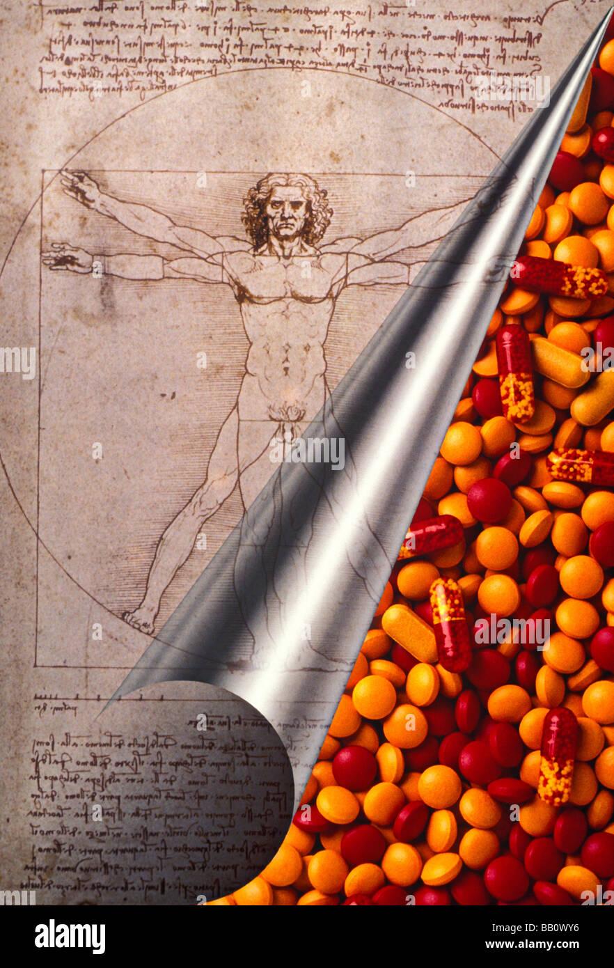 Leonardo Da Vinci curl Seite mit Pillen Stockfoto
