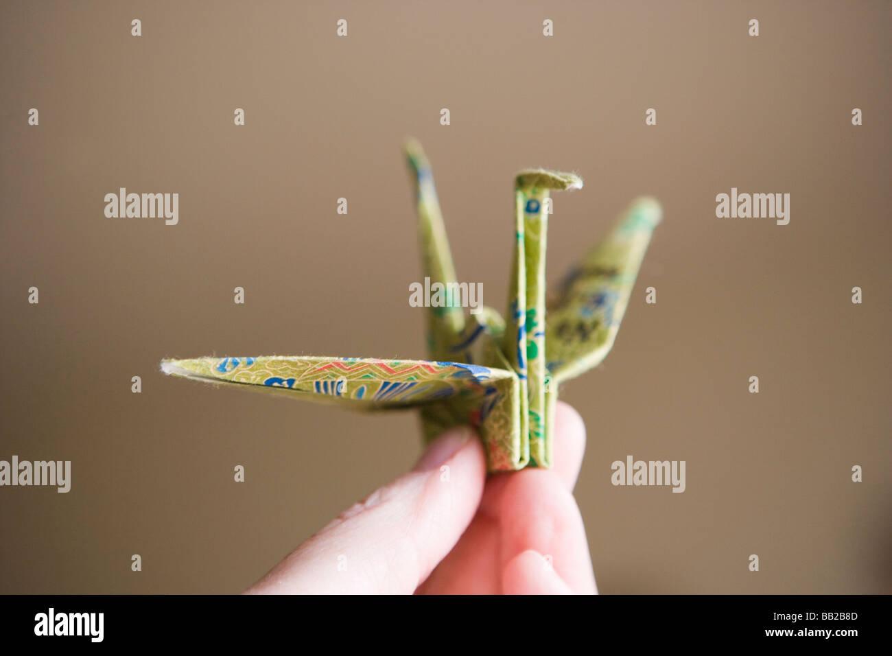 Japanische Papier Kran, Closeup, Symbol des Friedens Stockbild