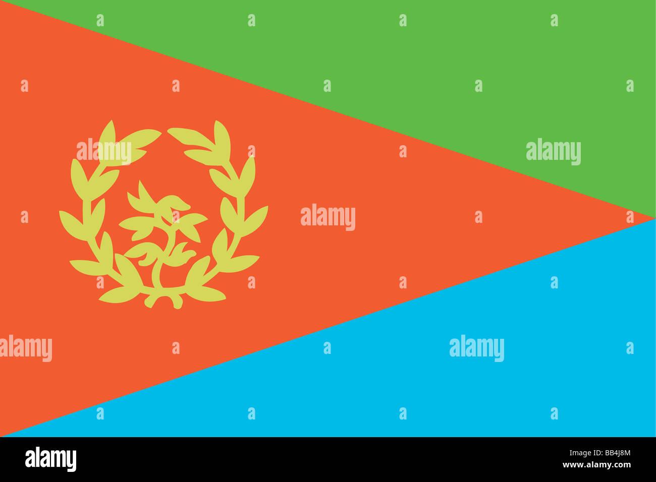 Historische Flagge von Eritrea, ein Land am Horn von Afrika, von 1993 bis 1995. Stockbild