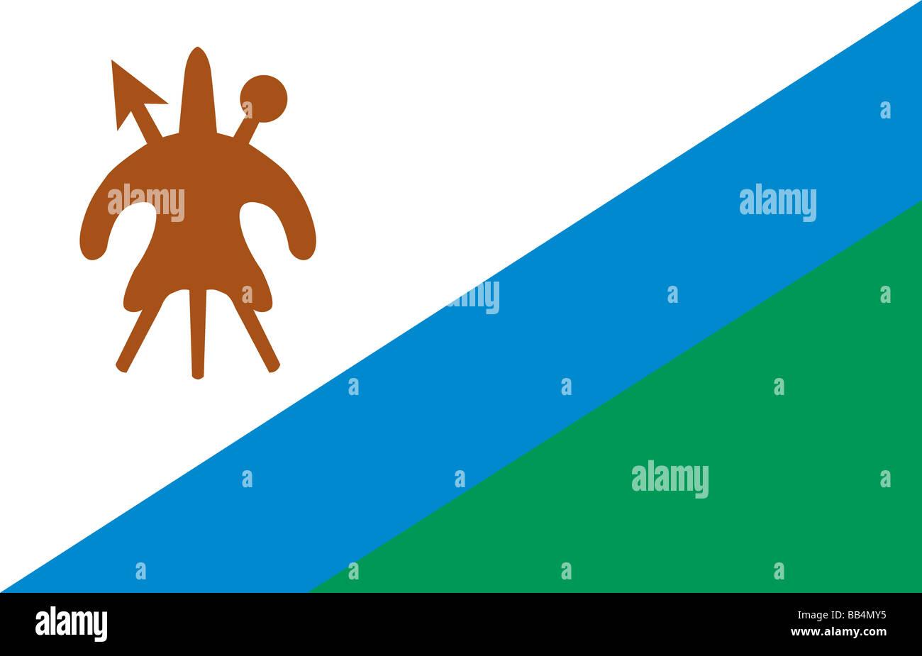 Historische Flagge Lesothos, bis zum Jahr 2006 Stockbild