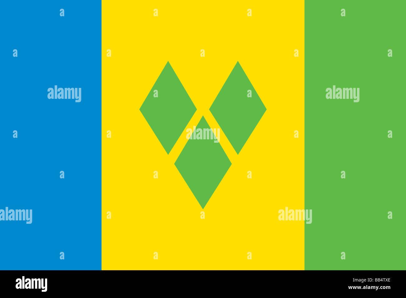 Flagge von St. Vincent und die Grenadinen Stockbild