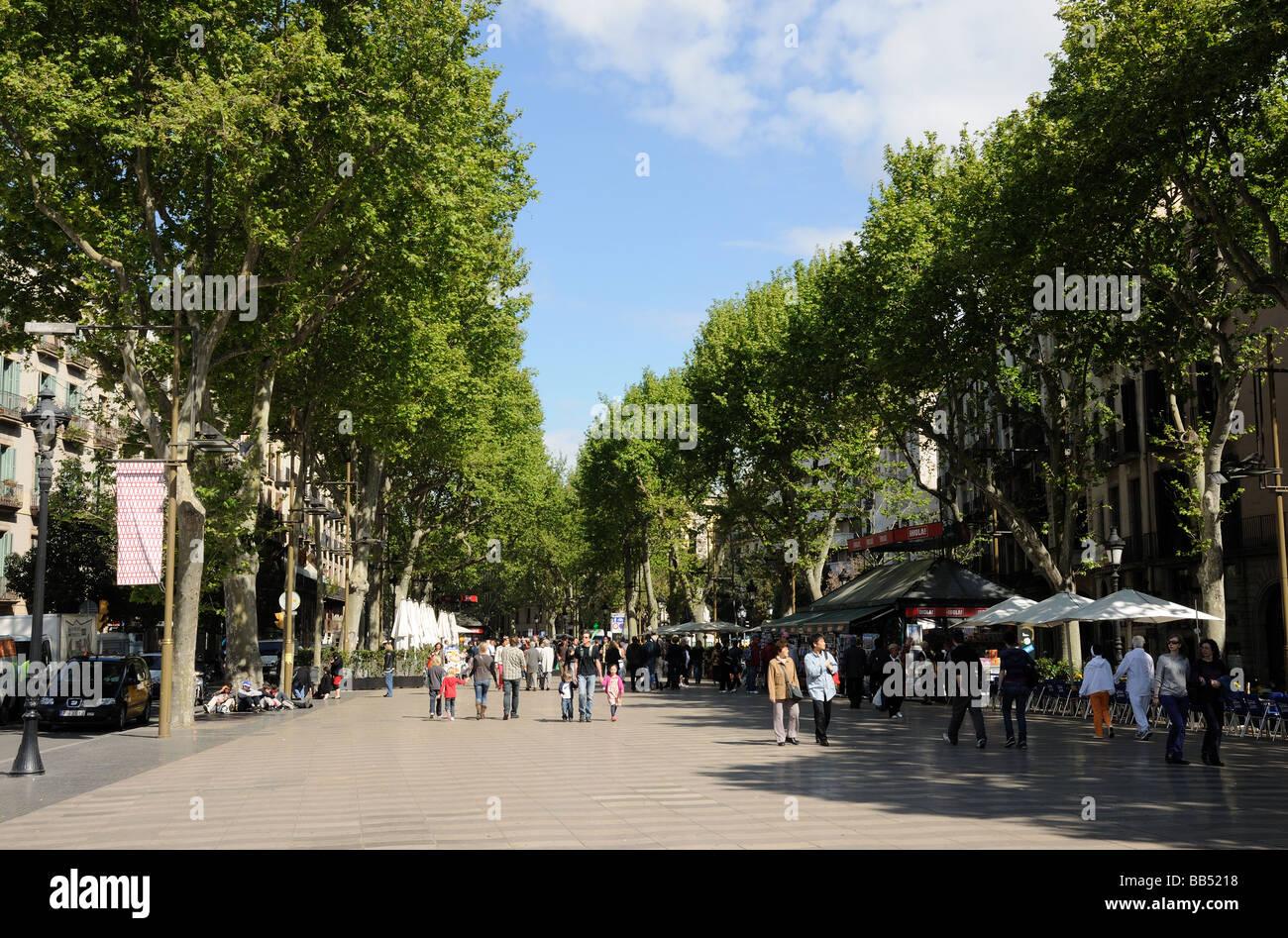 La Rambla in Barcelona Spanien Stockbild