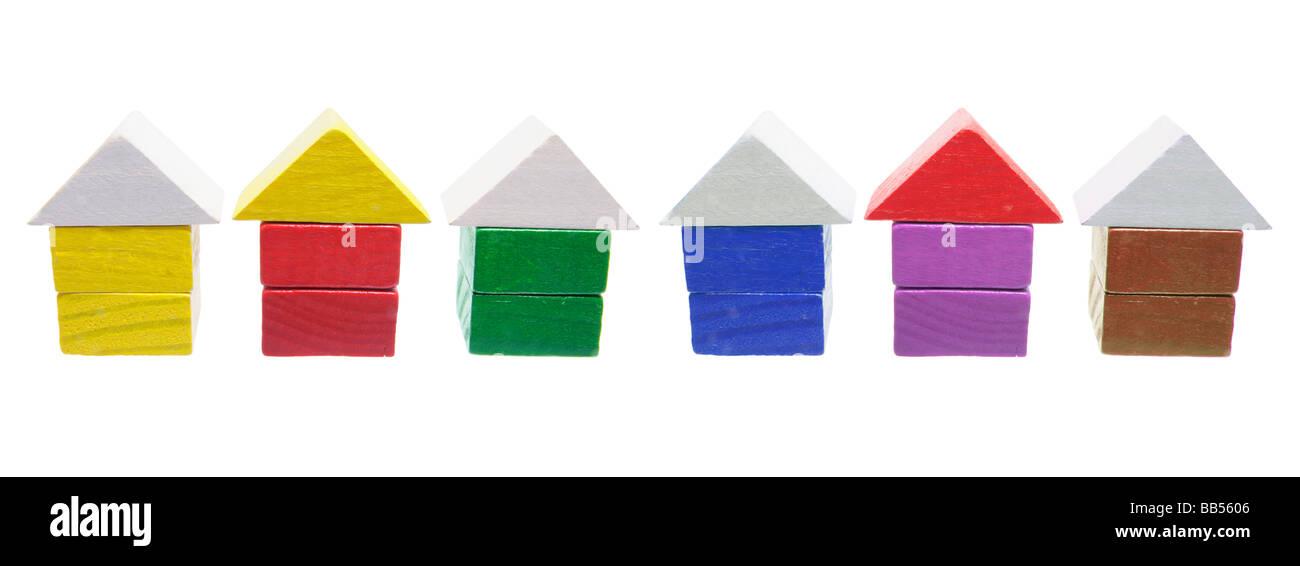 Hölzerne Miniatur-Häuser Stockbild