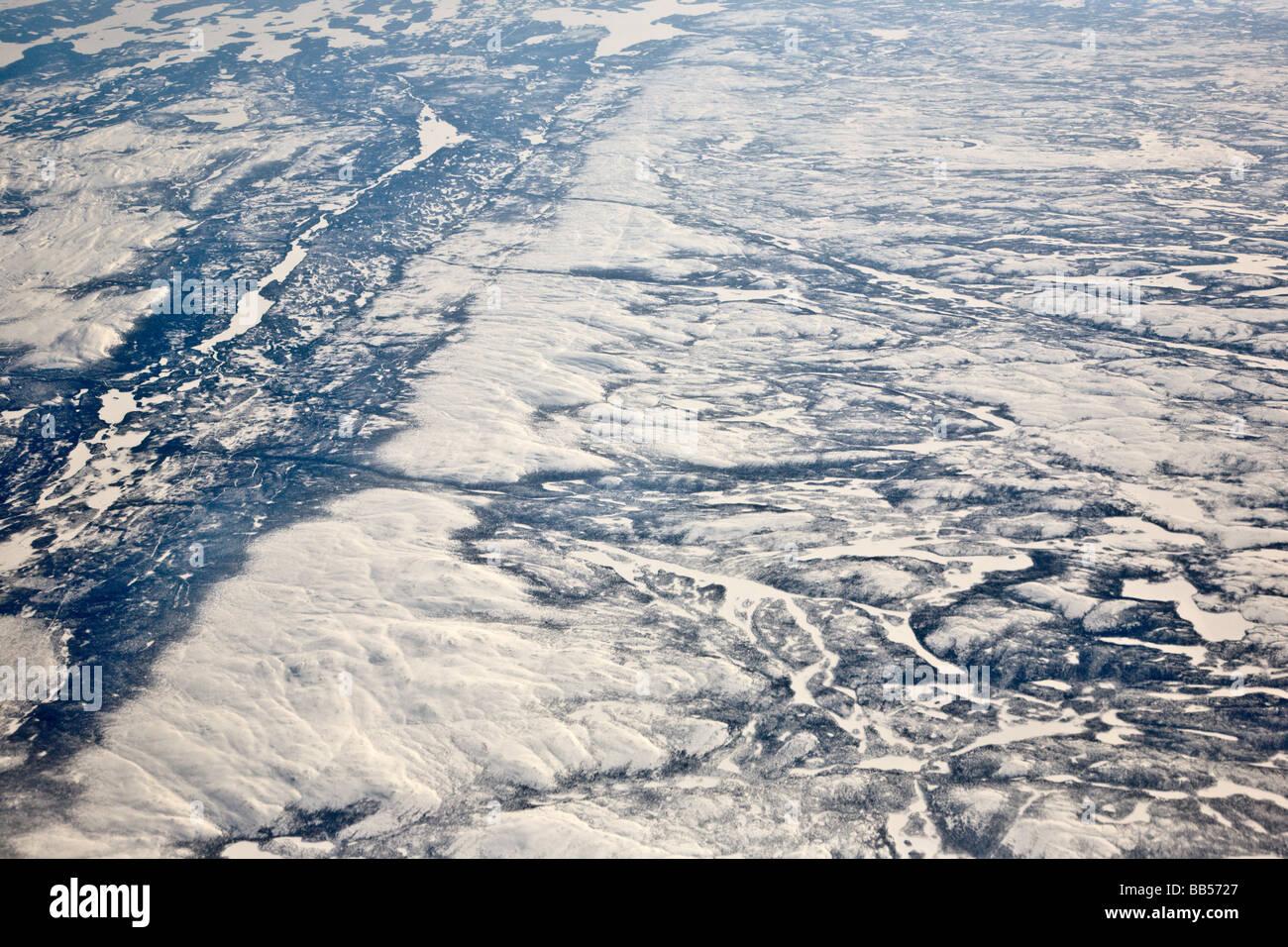 Die Ehrfurcht gebietenden polare Eiskappe sehen in dieser Ansicht aus einem Flugzeug, Reisen aus Frankfurt, Deutschland, Stockbild