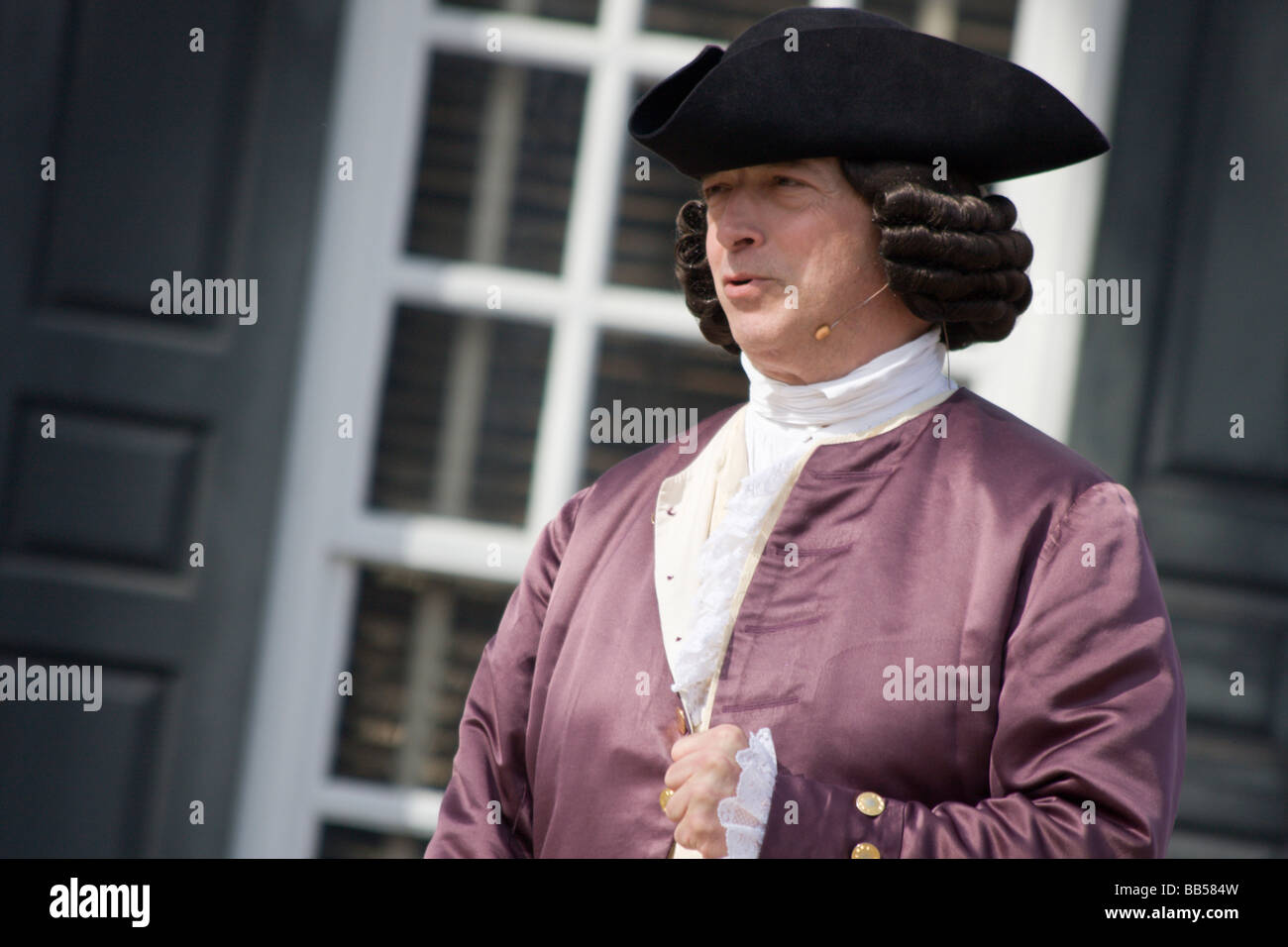 Periode Schauspieler in Colonial Williamsburg, Virginia. Stockbild