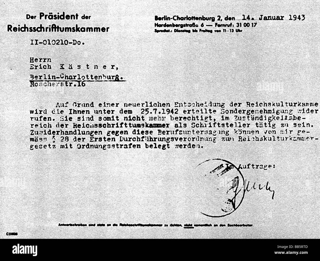 Kaestner, Erich, 23.2.1899 - 29.7.1974, deutscher Autor/Verfasser, Verbot von Schreiben, Berlin, 14.1.1943, Additional Stockbild
