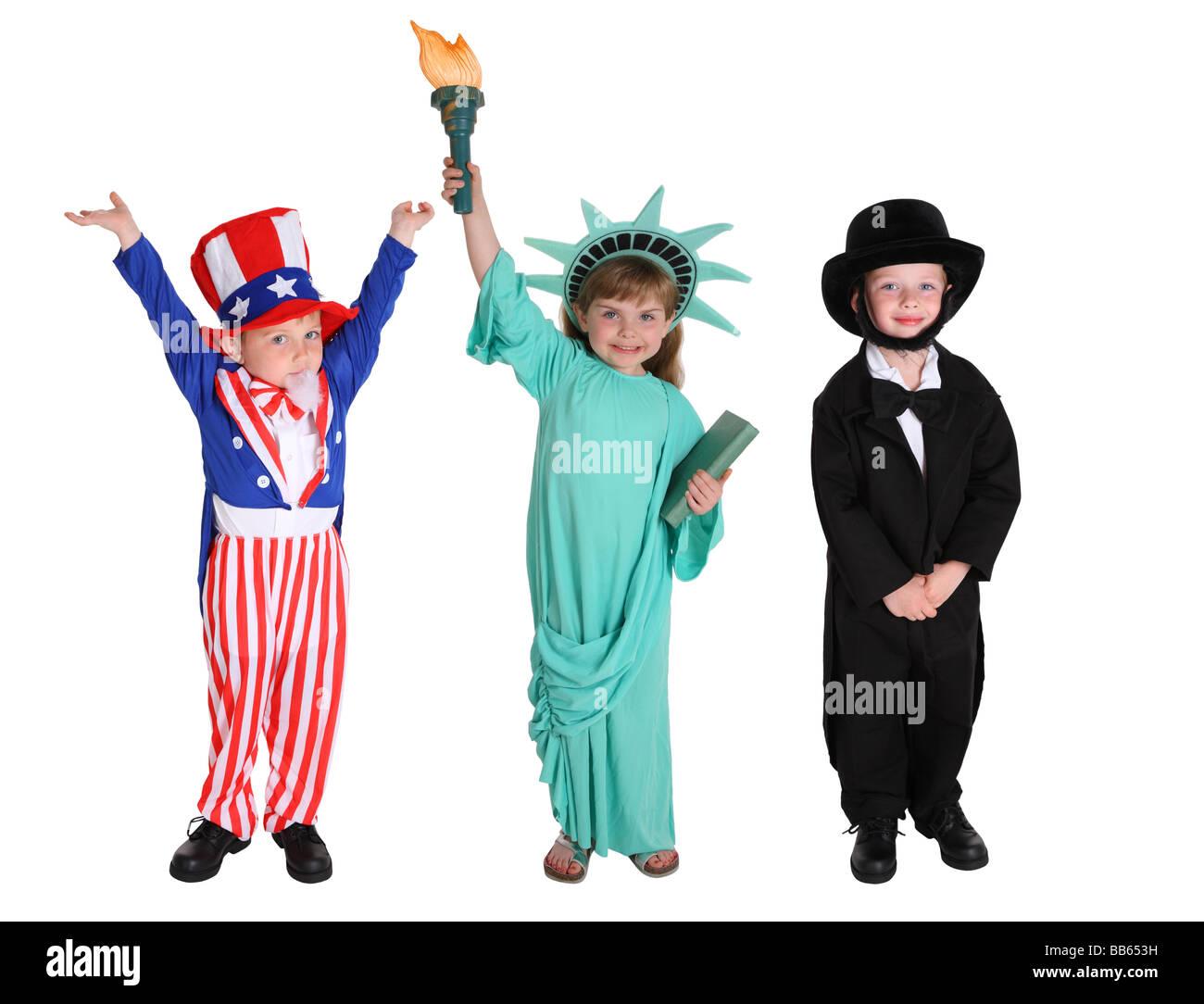 Kinder verkleidet wie amerikanische Zeichen Stockbild