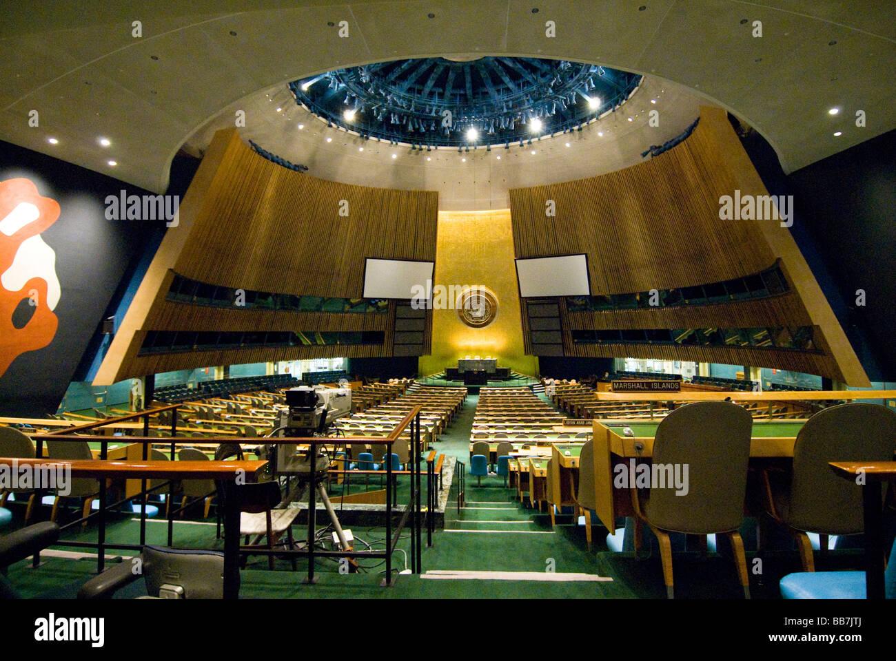 Große Halle der Vereinten Nationen, New York, USA Stockfoto, Bild ...