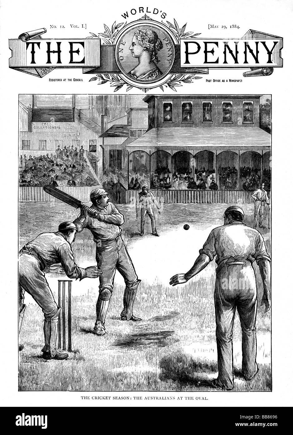 Australien im Oval 1884 Magazin-Cover mit der Touring australische Asche Team spielen Surrey im Mai Stockbild