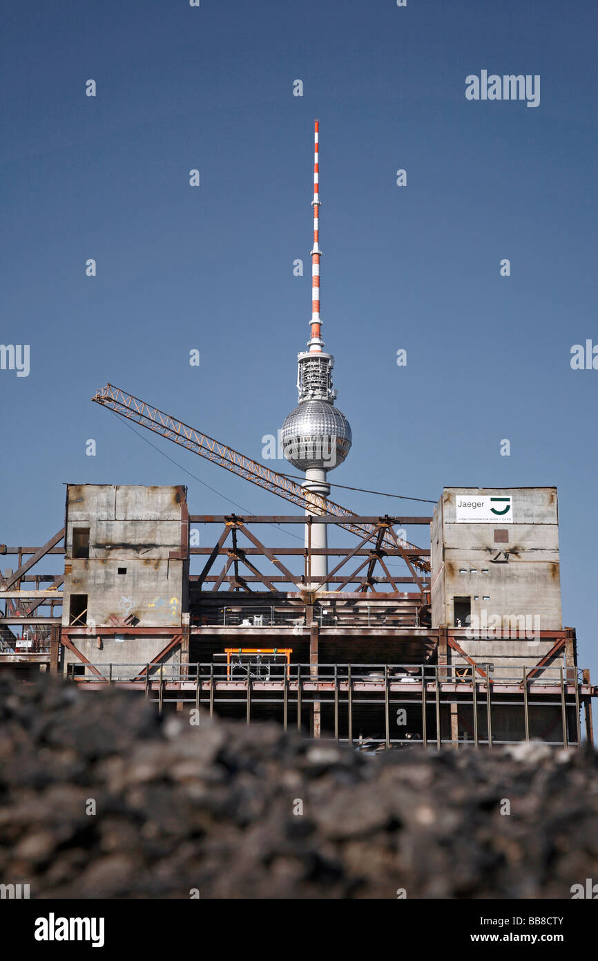 Berliner Fernsehturm Hinter Dem Palast Der Republik Bauen Während