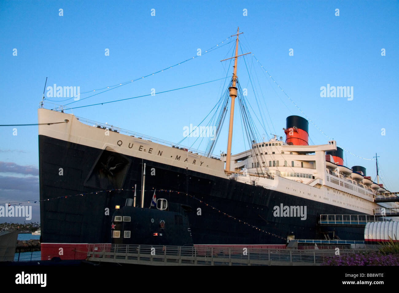 Die Queen Mary Museum Und Hotel Schiff Am Long Beach California Usa