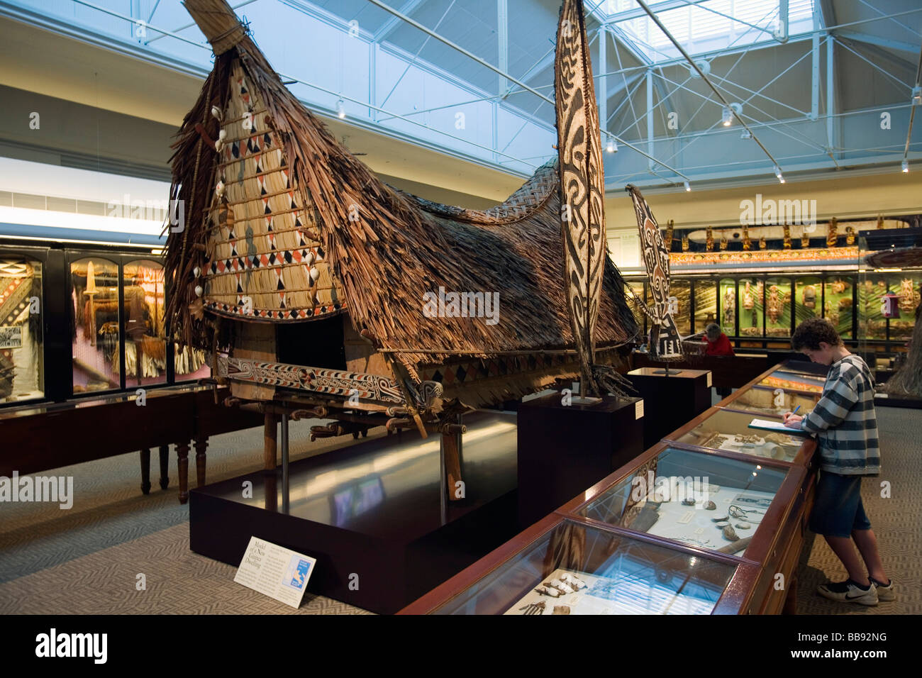 Pazifischen Kulturen Galerie im South Australian Museum.  Adelaide, South Australia, Australien Stockbild