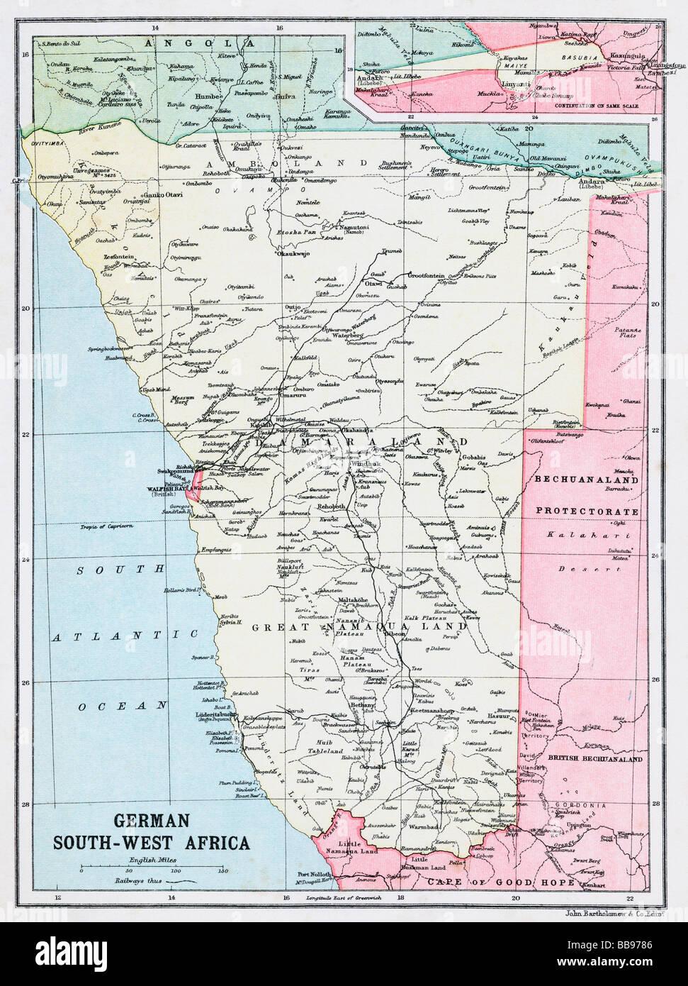 Afrika Karte Deutsch.Karte Von Deutsch Süd West Afrika Zu Beginn Des Ersten Weltkriegs