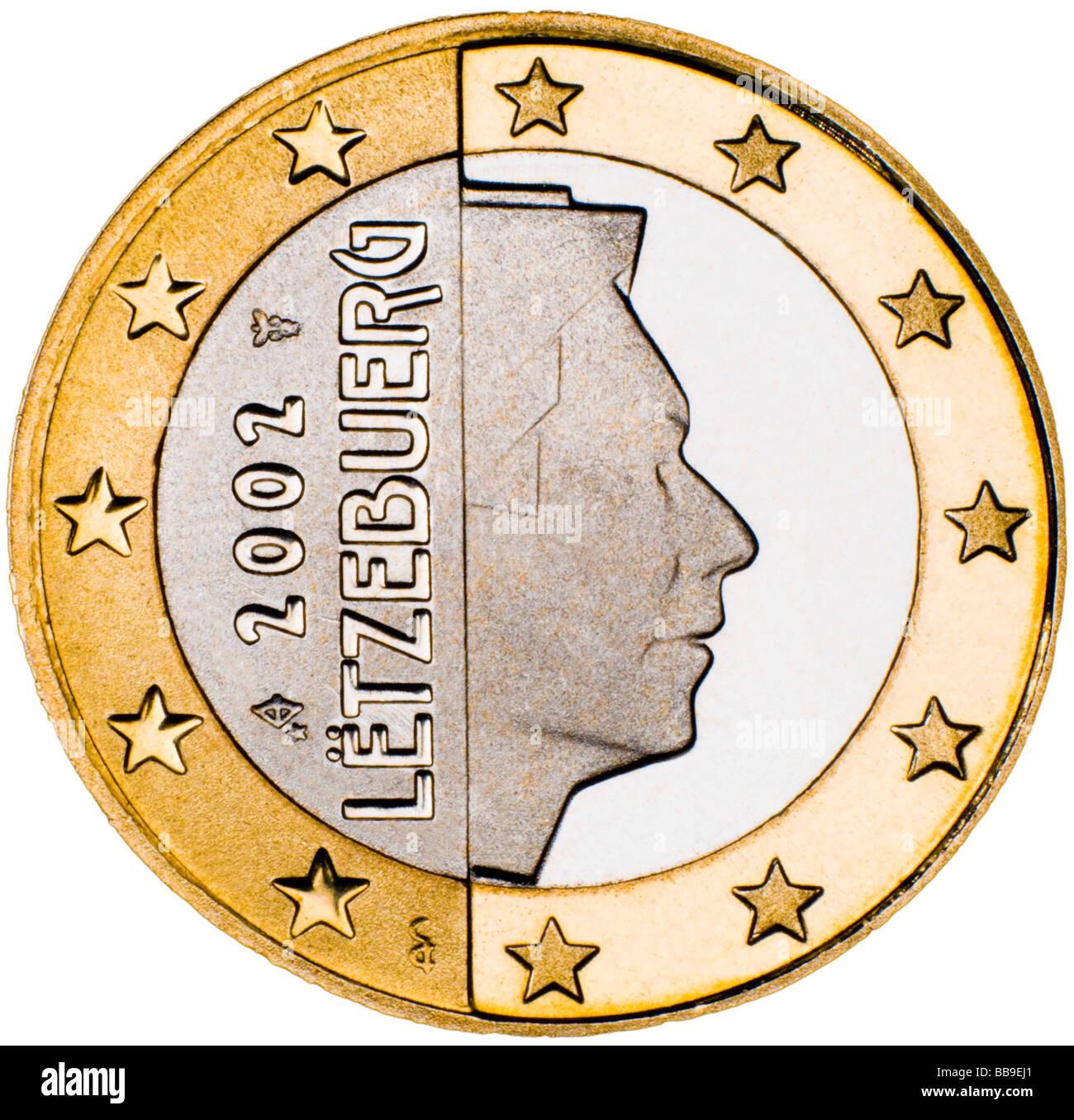 Luxemburg 1-Euro-Münze Rückseite Stockbild