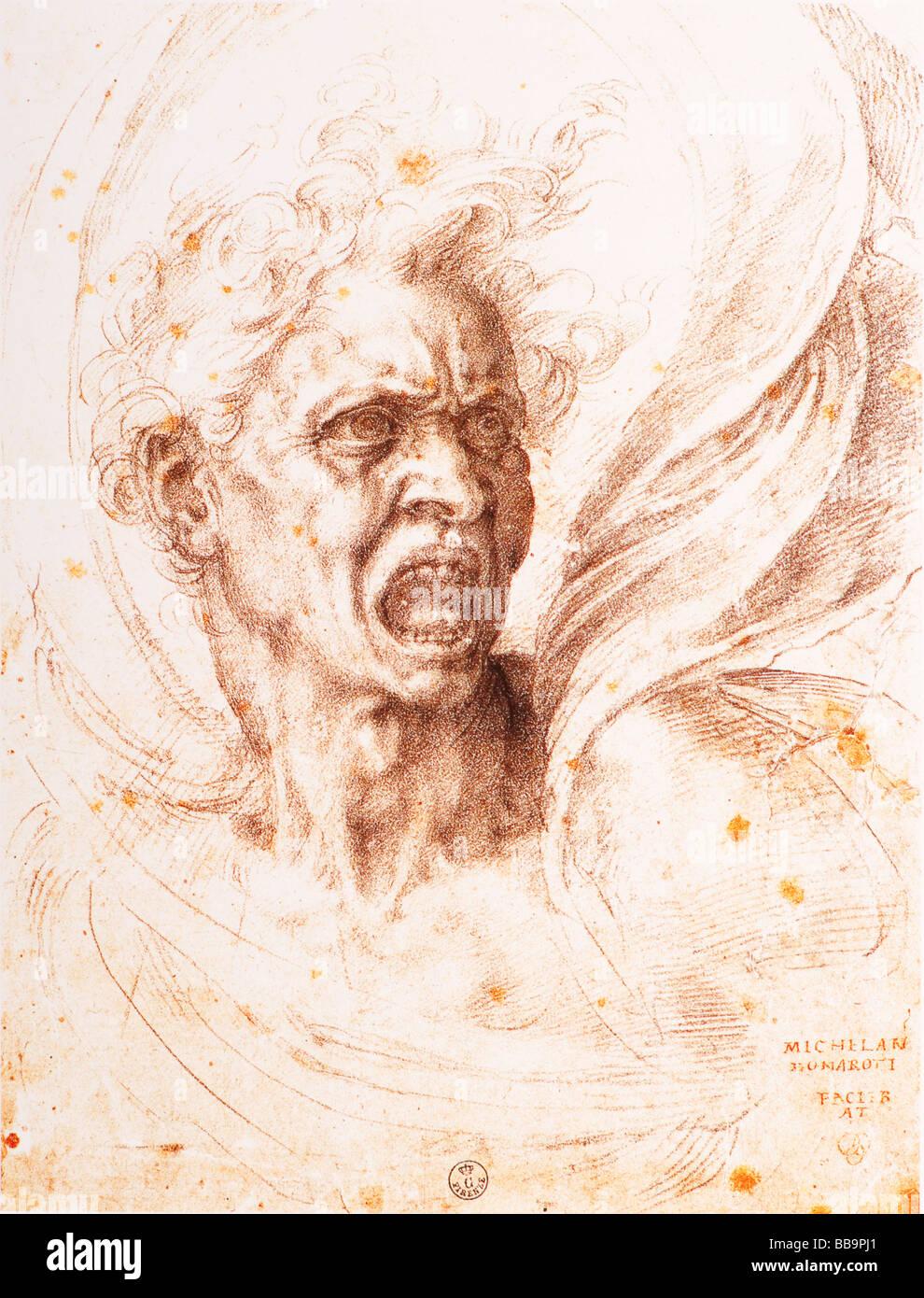 Die verdammten Seele durch Michelangelo 1525 schwarze Tinte Stockbild