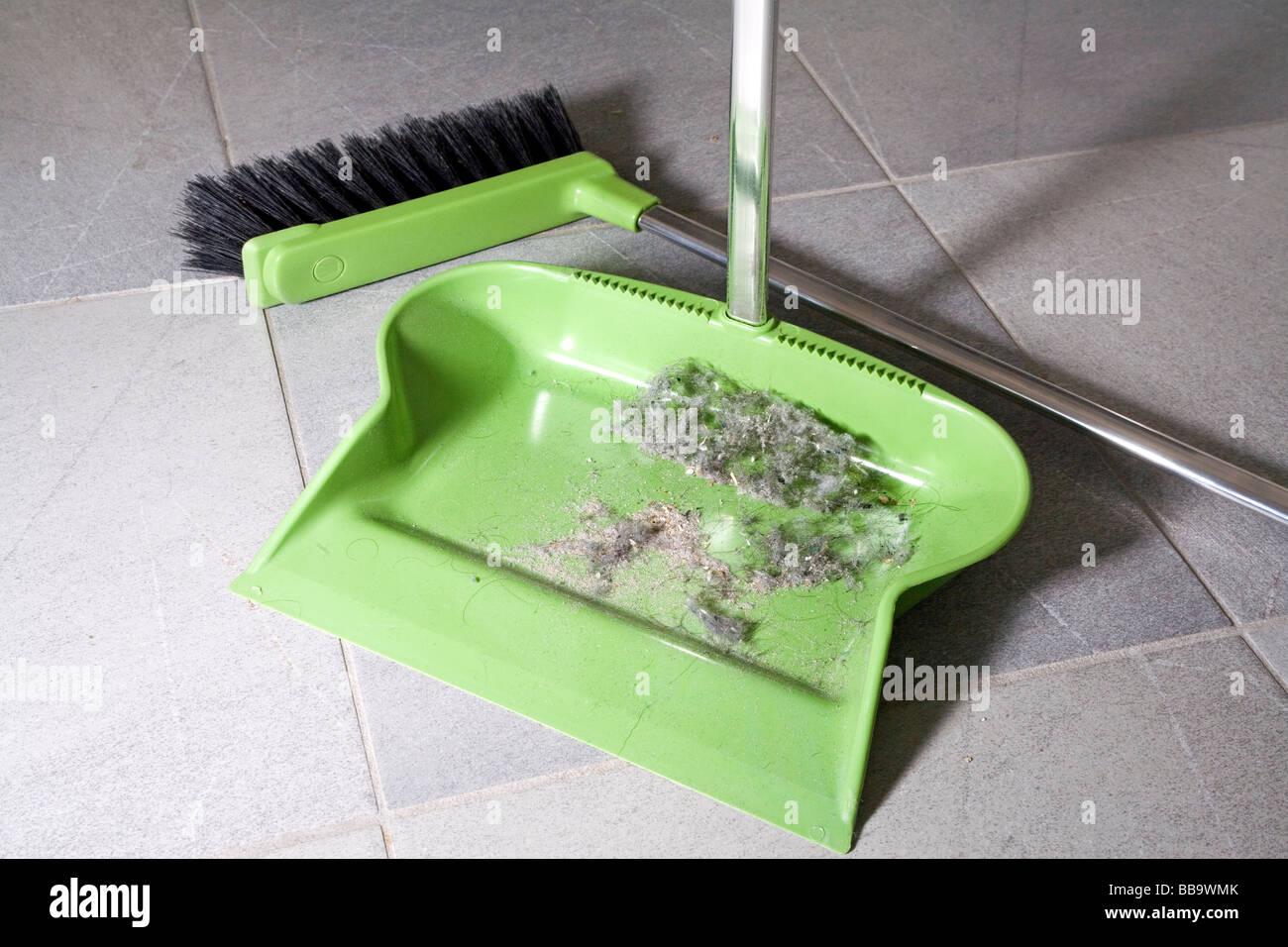 Schaufel auf den Boden Besen und Haus-Staub Stockbild