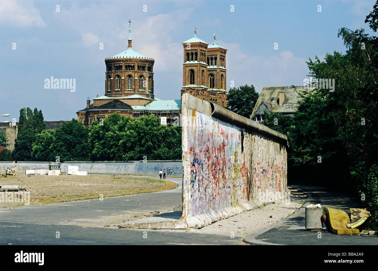 Ehemaligen Todesstreifen und Mauer nach dem Fall der Berliner Mauer, Berlin-Kreuzberg, Deutschland, Europa Stockbild