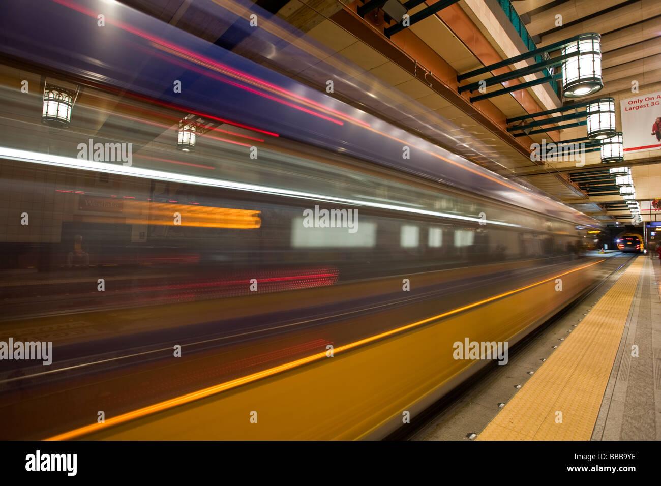 Seattle WA Westlake Station, einer der fünf Stationen in Seattle Transit Tunnel Stockbild