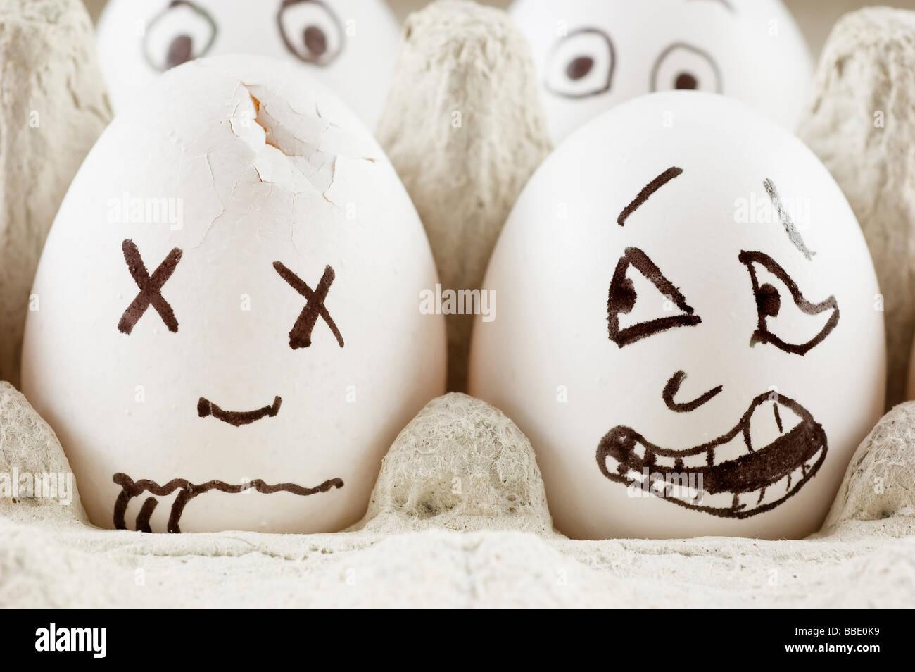 Eiern sind Angst, wie sie toten Freund sehen Stockbild
