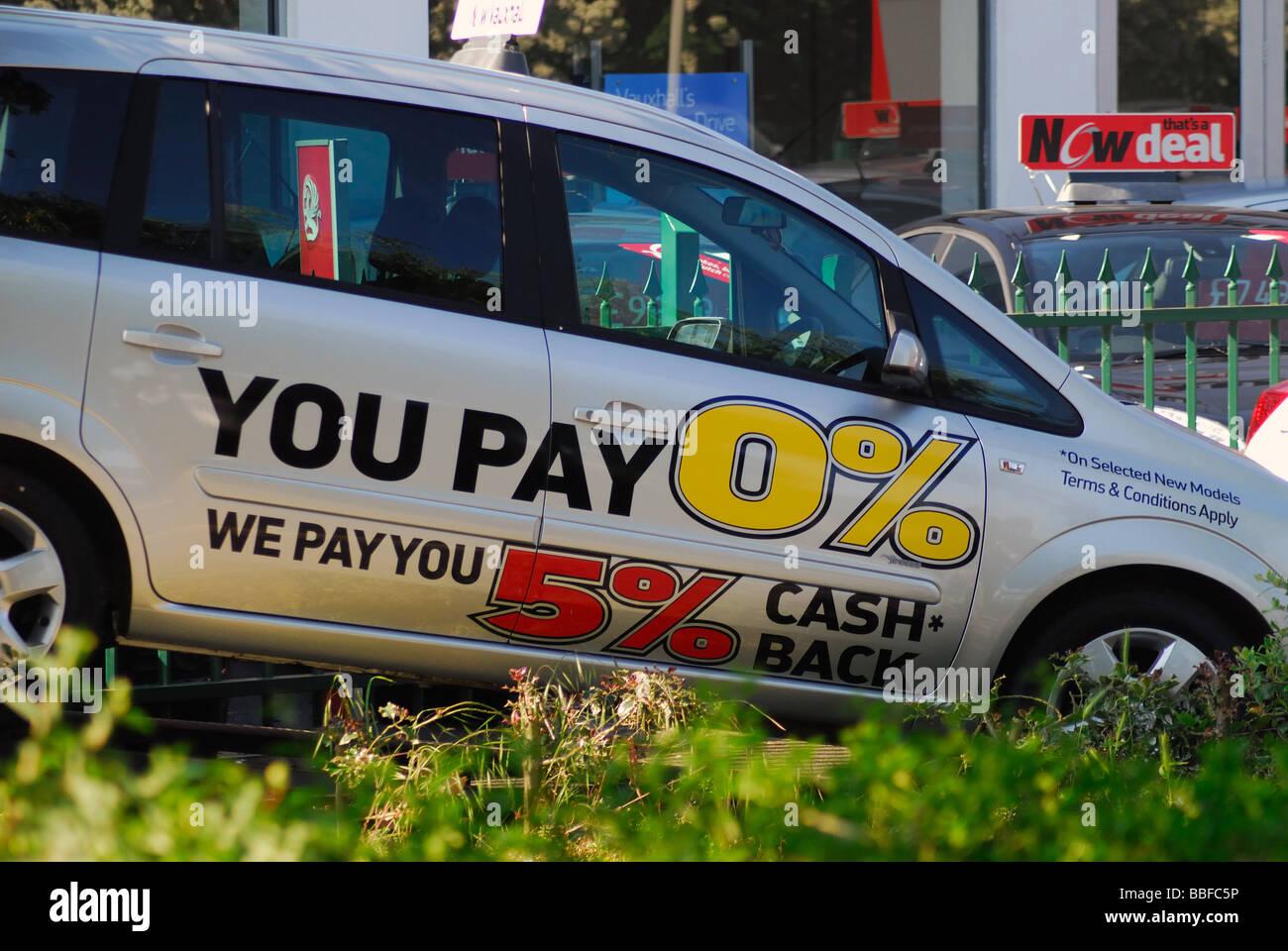 Eine 0 Finanzierung Und 5 Cash Back Werbung Bieten Ouside Ein