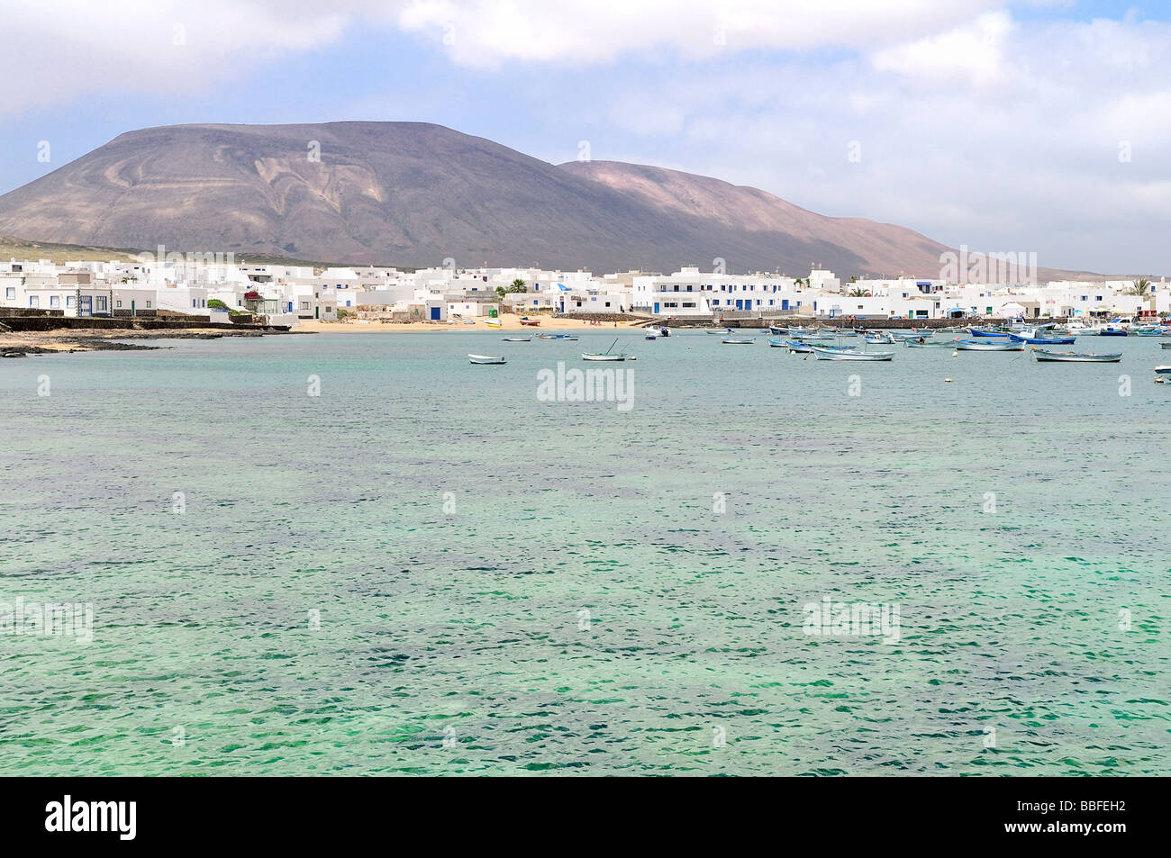 Blick auf Meer Berge und Meer auf der Insel Graciosa Stockbild