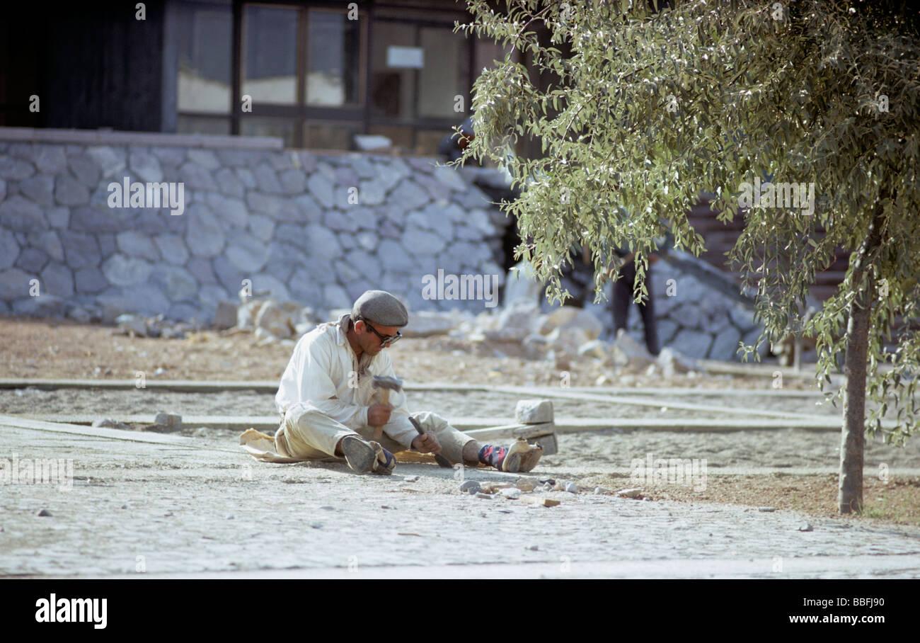 Workman hinzufügen nicht rutschen zu Zement METU Ankara Türkei 670829 010 glatte Oberfläche Stockbild