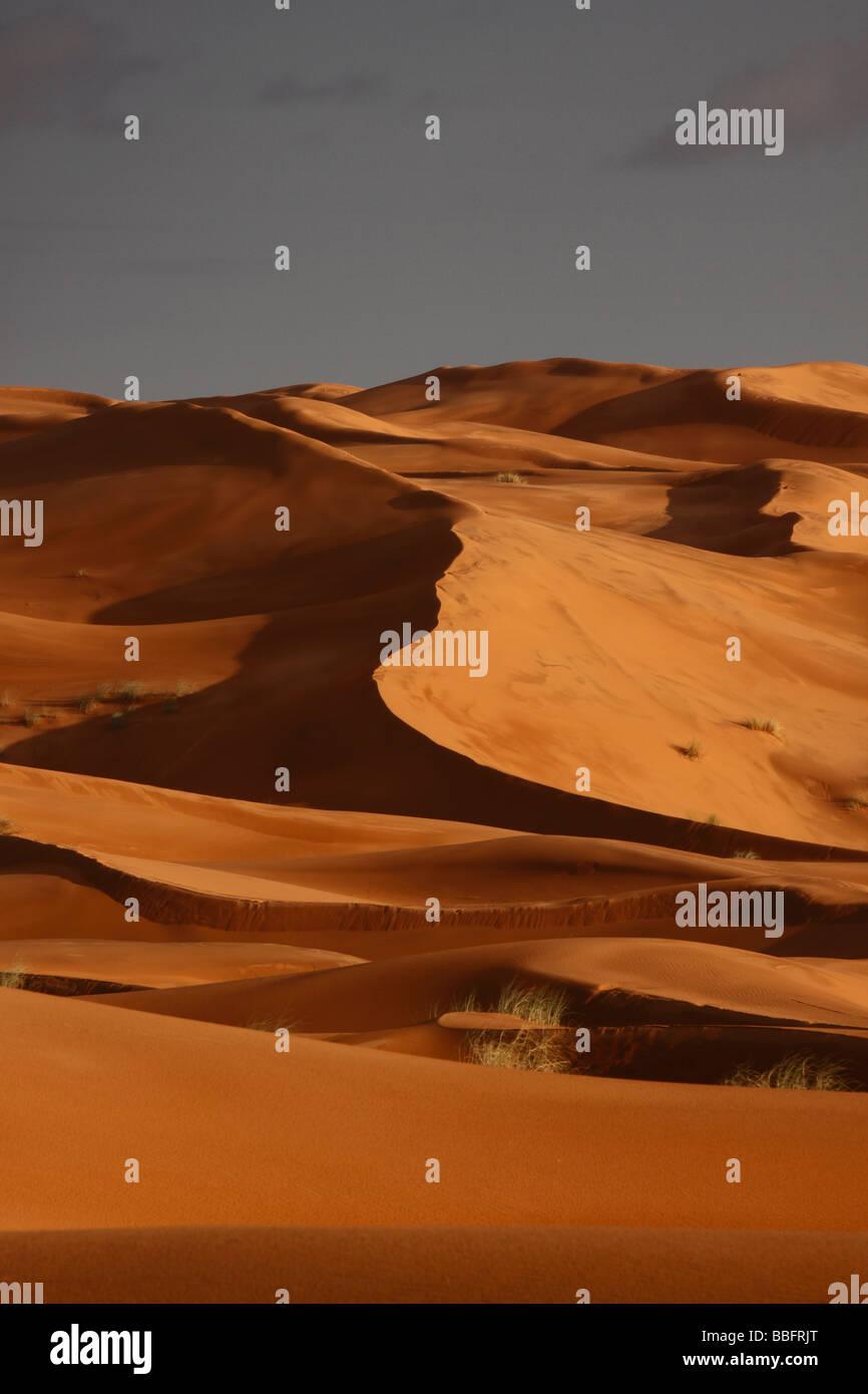 Afrika, Nordafrika, Marokko, die Wüste Sahara, Merzouga, Erg Chebbi, Sonnenuntergang Stockfoto