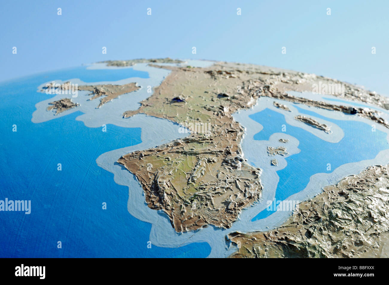 Globus, Geographie, Illustration, Spanien und Nordafrika Stockbild