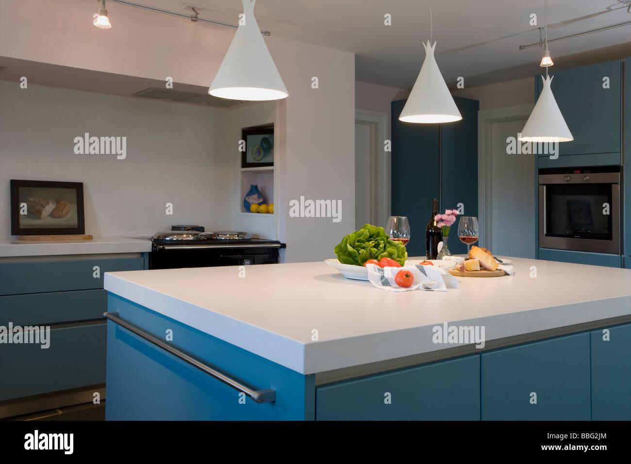 Küche, modern, neu, sauber, utilitaristische, frisch, Haus Stockbild