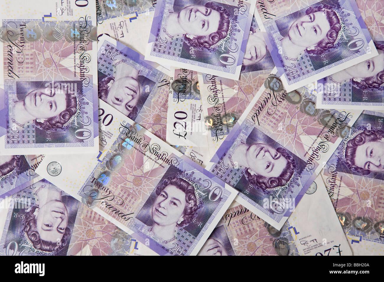 """""""zwanzig Pfund"""" Hinweis """"zwanzig Pfund"""" Notizen Geld Sterling Währung Bundle stack Stockbild"""