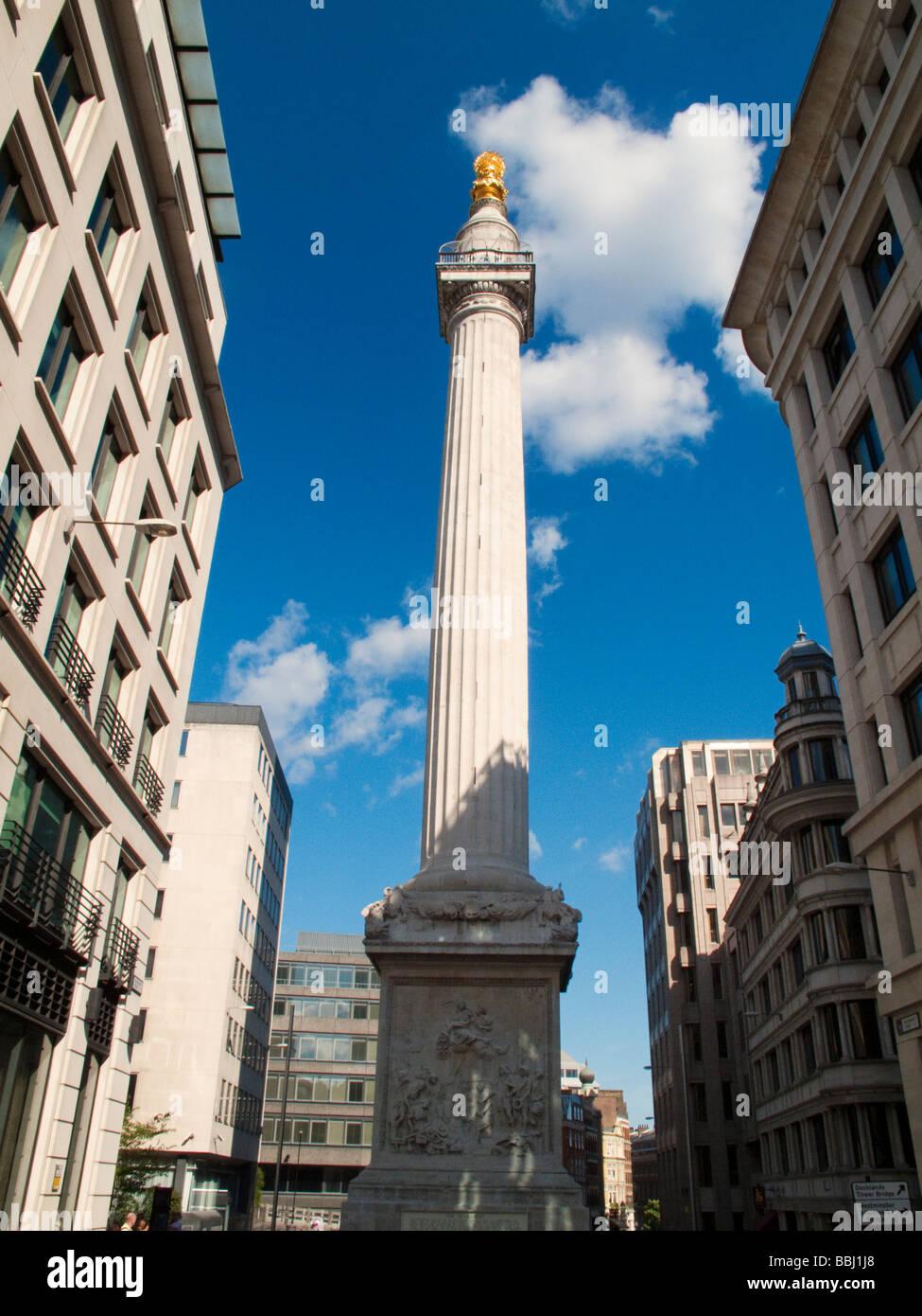 Das Monument von Sir Christopher Wren entworfen, zum Gedenken an den großen Brand von London 1666, City of Stockbild