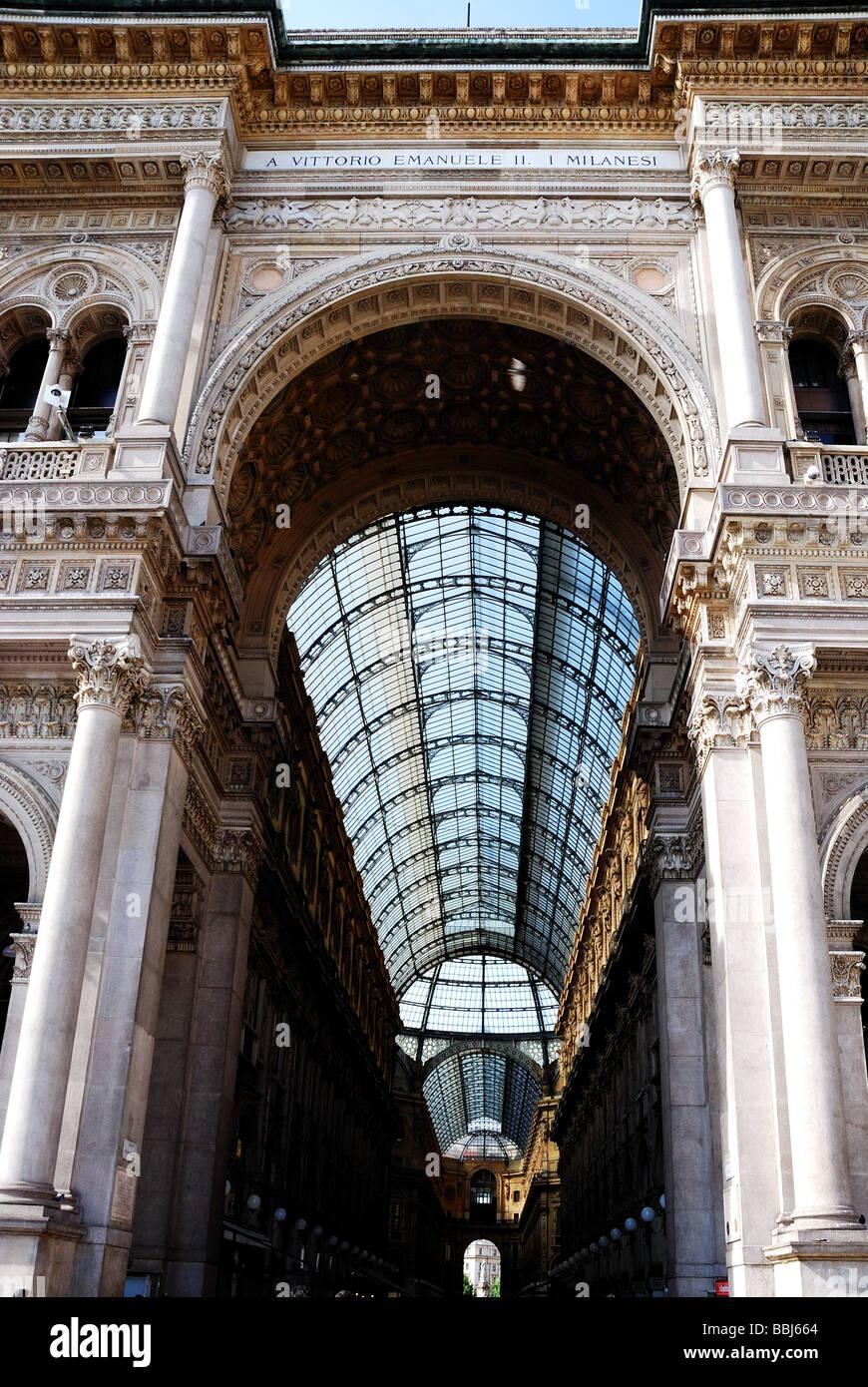 Historische Galleria Vittorio Emanuele in Mailand Stockbild